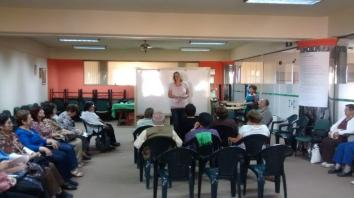 Marlies giving a session on mindfulness to pensioners.