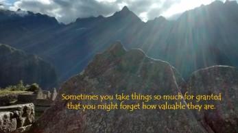 Machu Piccu with quote