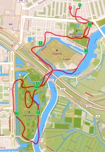 My route along the Amstel River and around Amstel Park.
